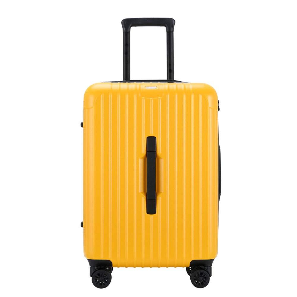 トロリーボックスユニバーサルホイールジッパー旅行荷物20インチ/ 22インチ/ 24インチビジネス搭乗パスワードスーツケース (Color : 黄, Size : 20 inch)   B07QYMGGHD
