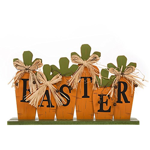 """Glitzhome Handcrafted Wooden """"Easter"""" Block Carrot Decor"""