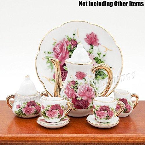 Miniature Porcelain Tea Set (Odoria 1:6 Miniature 8PCS Porcelain Tea Cup Set Pink Rose Chintz with Gold Trim Dollhouse Kitchen Accessories )