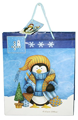 Gloss Finish Deluxe Gift Bag - Frosty Friends - Medium (12.5 x 10.5 x 4)
