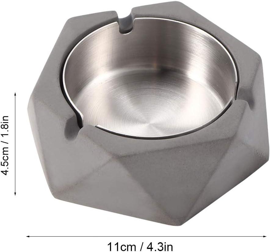 Gris Claro Estilo Industrial Simple Creativo Fdit Cenicero de Barro de Agua de Viento n/órdico Ins cenicero geom/étrico de Acero Inoxidable para Sala de Estar