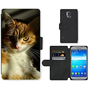 PU LEATHER case coque housse smartphone Flip bag Cover protection // M00114653 Gato Naranja mascotas felino Retrato // Samsung Galaxy S5 S V SV i9600 (Not Fits S5 ACTIVE)