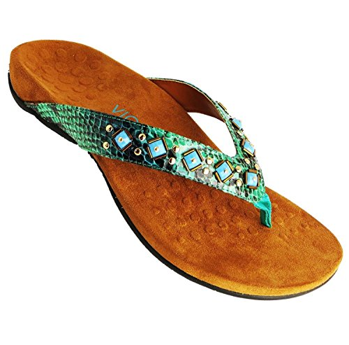 VIONIC Floriana TOE-POST elegante apoyo de la mujer sandalias | FMT Orthaheel tecnología Teal Snake