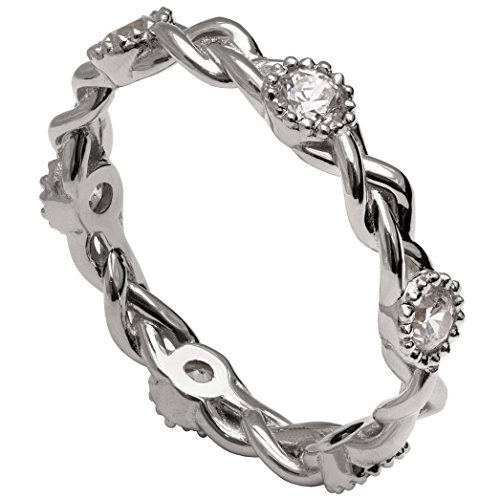 Solid 18K White Gold and Diamonds Braided Eternity Wedding Ring For Women His and Hers Leaf Sets Promise Band Celtic Woven by Doron Merav