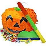 THE TWIDDLERS Halloween Large Pumpkin Piñata Pack, 35 x 25CM - with Stick & Blindfold - Perfect Game for Halloween Parties, Decoration, Trick or Treat for Kids & Adults
