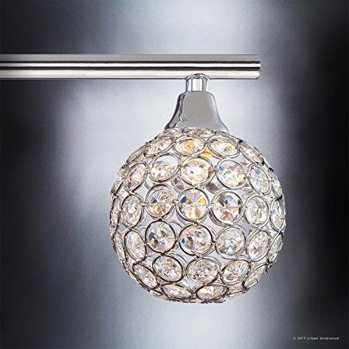 Luxury Crystal Globe LED Bathroom Vanity Light, Large Size: 8''H x 32.5''W, with Modern Style Elements, Polished Chrome Finish and Crystal Studded Shades, G9 LED Technology, UQL2632 by Urban Ambiance by Urban Ambiance (Image #5)