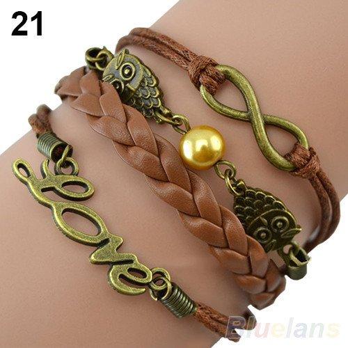 Price comparison product image Bosun(TM) Lovely owls knit bronze metal bracelet number 8 love words bracelet beads brown leather