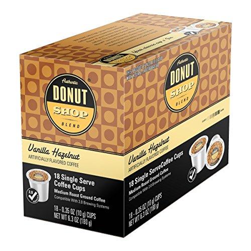 Donut Shop Single Cup Coffee Flavors Original Roast Original Dark Chocolate Chip Cookie Vanilla Hazelnut Decaffeinated For all Single Cup Coffee Machines Built off of Keurig® & Touch Brewers platform (Vanilla Hazelnut, 54)