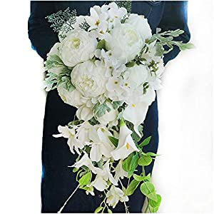Luvier White Peony Calla Lily Cascading Bridal Wedding Bouquets Handmade Silk Flowers Plants Waterfall Shape Nosegay Bridal Bouquet (White) 43