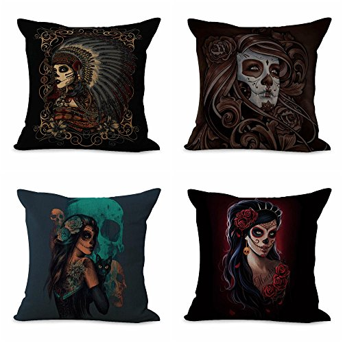set of 4 cushion covers women sugar skull Day of the Dead accessories for house decoration