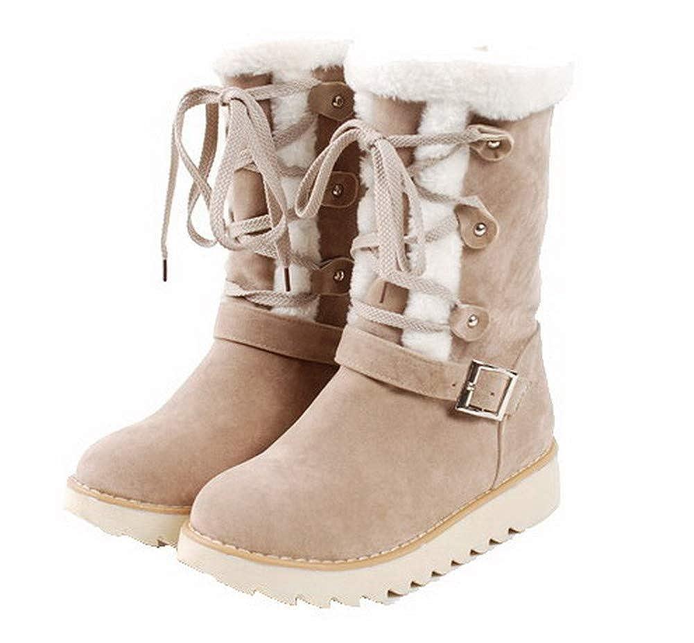 AmoonyFashion Womens Lace-Up Closed-Toe Low-Heels Pu Mid-Calf Boots BUSXT109864