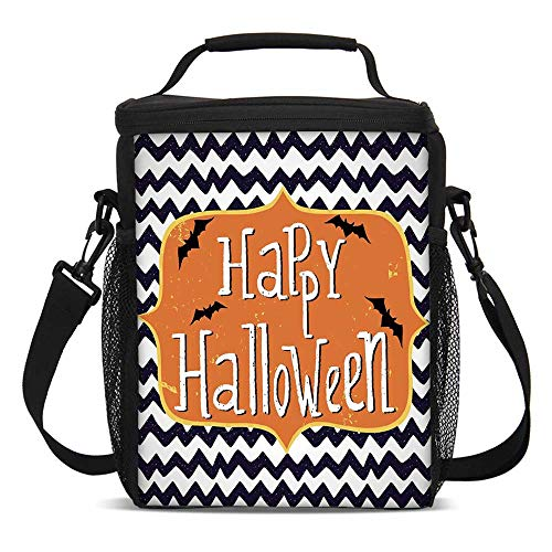 Halloween Fashionable Lunch Bag,Cute Halloween Greeting Card Inspired Design Celebration Doodle Chevron Decorative for Travel Picnic,One size