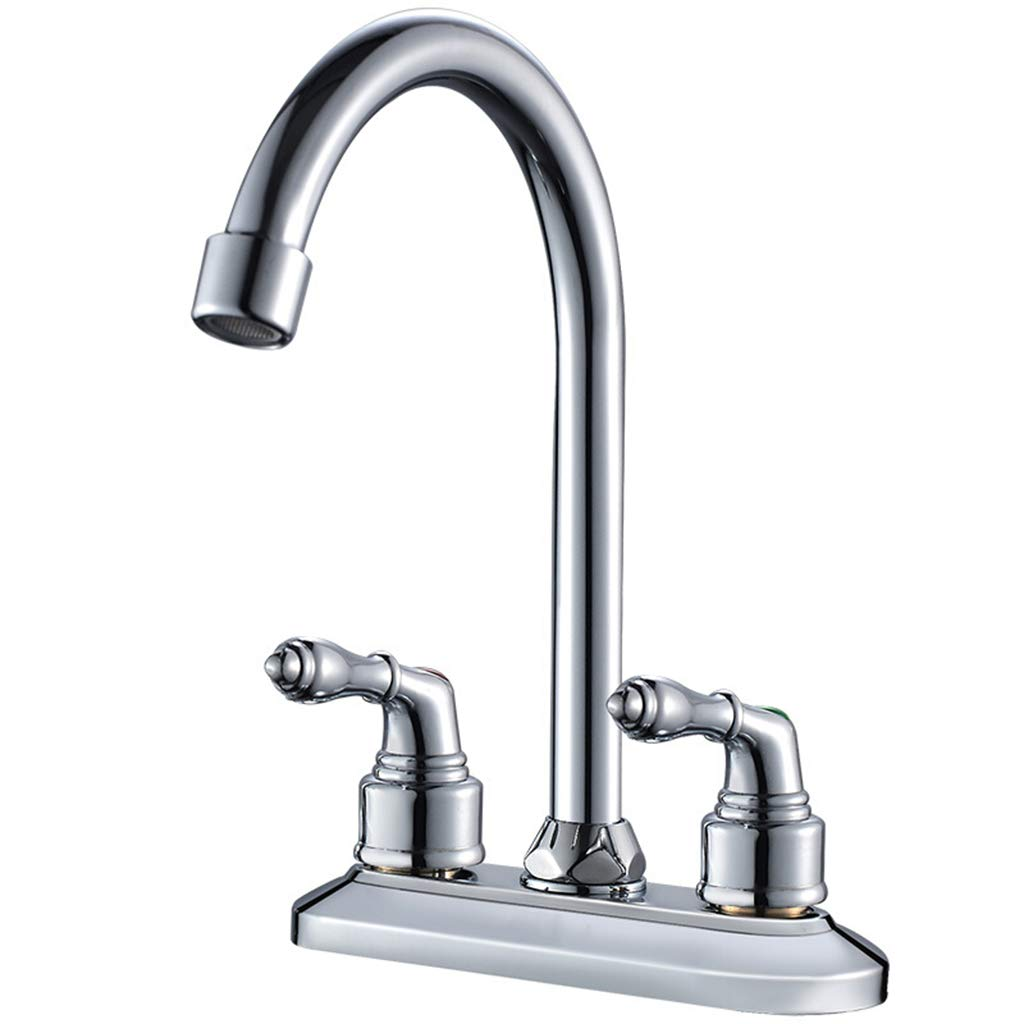 Yxx max Kitchen Faucet 360 Degree Rotating Double Hole Hot and Cold Washbasin Faucet
