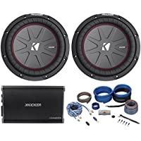 (2) Kicker 43CWRT102 10 1600W Slim Car Subwoofers+Kicker CXA1200.1 Amp+Amp Kit