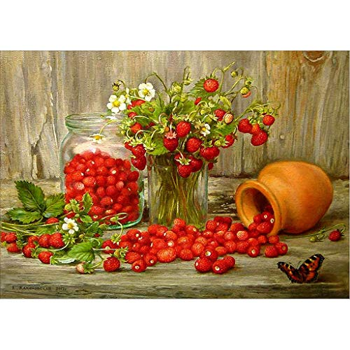 Chenway DIY Diamond Painted 30X40CM 5D Rain Couple & Art Fruit Cross Stitch Kit Set for Adults by Number Painting Grape & Strawberry Art Mural Wallpaper (Strawberry & Clay Pot) ()