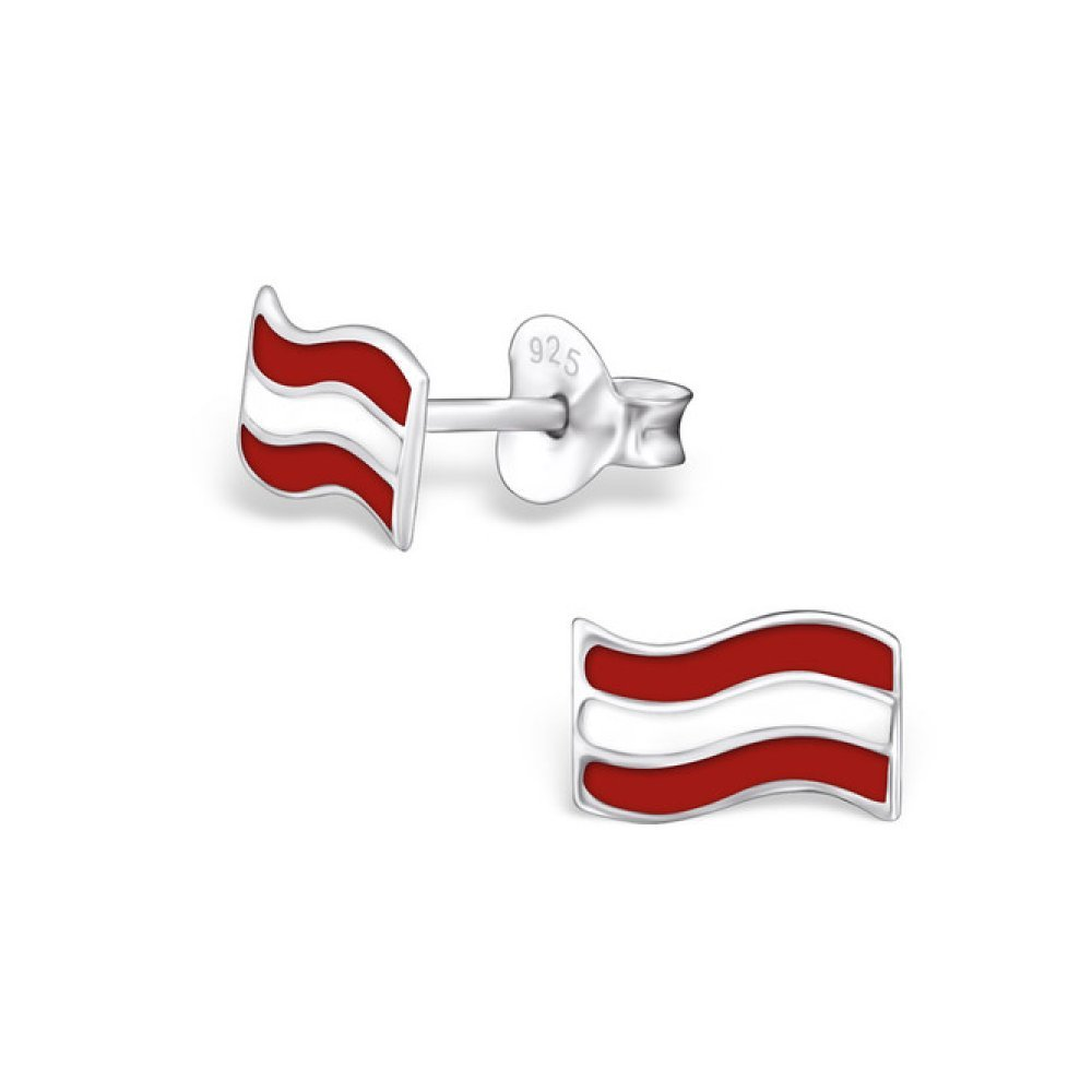 Sterling Silver Children's Austria Flag Stud Earrings with Epoxy