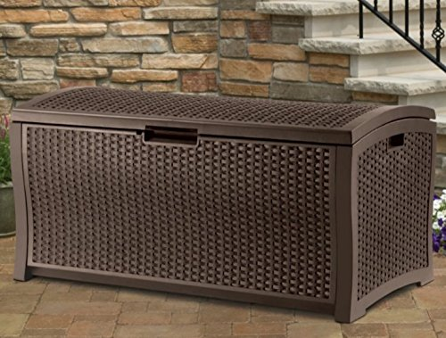 Home Storage Solutions, Resin Wicker Deck Box,Patio Cushion Storage And Garden Tools Organizer, 99 Gallons Of Storage Space