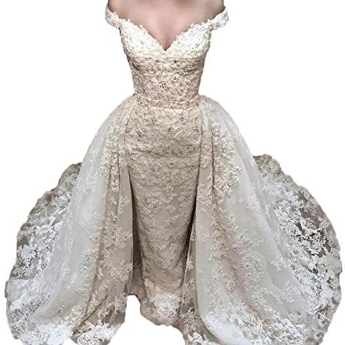 c97f680c202 Women s Sexy V Neck Beaded Lace Sleeveless Overskirt Wedding Bridal Dresses  (14