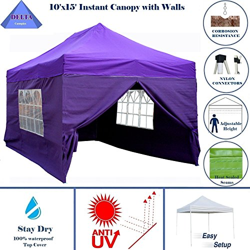 10'x15' Ez Pop up Canopy Party Tent Instant Gazebos 100% Waterproof Top with 4 Removable Sides Purple - E Model By DELTA Canopies (Cheap Patio Furniture Houston Tx)