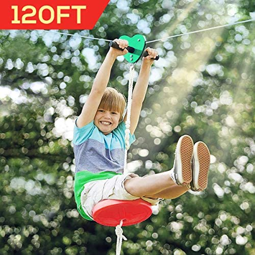 Hi-Na Zip Line Kit 80ft 100ft 120ft Zipline Kits for Backyard Kids Play Set Zipline with Seat Handles Ziplines for Backyards Zipline 100 Foot Zip Line Kit Zip Line Play Set Zipline for Kids 120ft