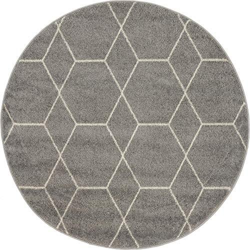 - Unique Loom Trellis Frieze Collection Lattice Moroccan Geometric Modern Light Gray Round Rug (4' x 4')