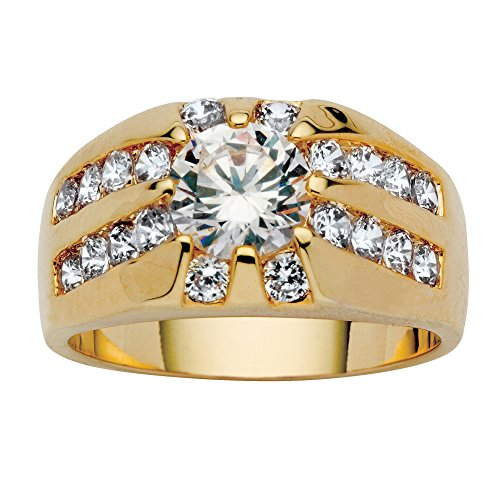 Men's Round White Cubic Zirconia Yellow Gold Tone Channel-Set Ring Size 12 (Band Channel Round Set)