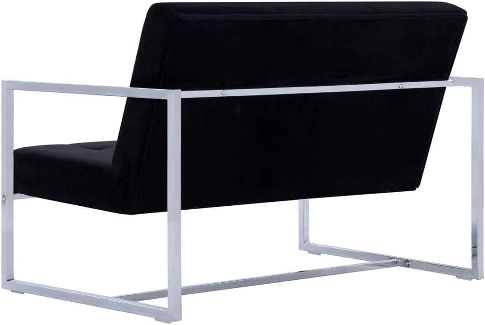 vidaXL Divano 2 Posti con Braccioli Design Originale Moderno Elegante Robusto Confortevole Durevole Sicuro Sof/à Canap/è Dormeuse Nero Cromato Velluto