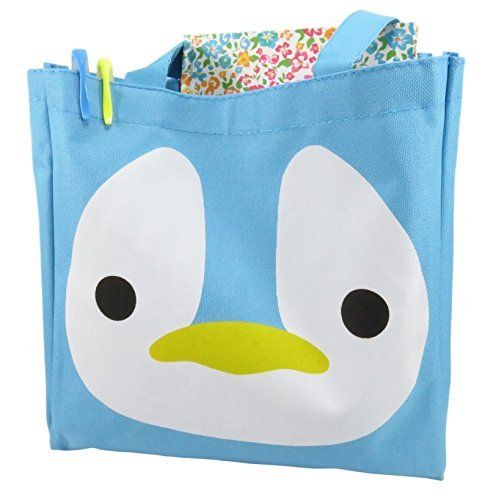 Daiso Cute Penguin Tote Bag Purse 10.75 x 10.5 Canvas Polyester Blue White Yellow
