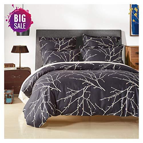 Elephant Soft Duvet Cover Set, Premium Microfiber, Denim Blue and Branches Pattern On Comforter Cover-3pcs:1x Duvet Cover 2X Pillowcases,with Zipper Closure (Denim Duvet Cover Set)