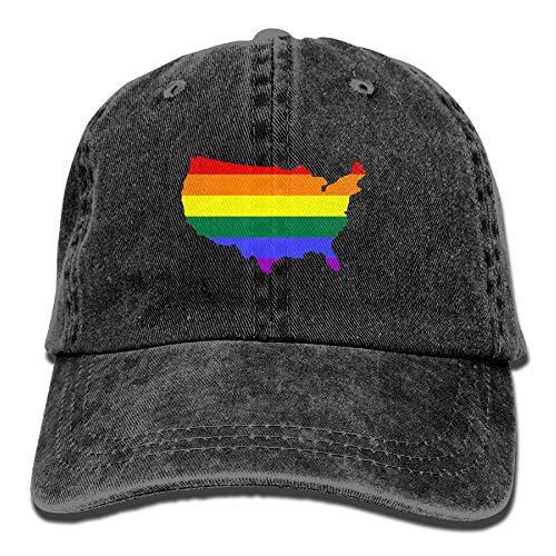 KLQ Cowboy Hat Adjustable LGBT USA Flag Map Baseball Cap Sunhat Peaked Cap