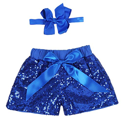 (Baby Girls Shorts Kids Sparkle Toddler Sequin Shorts Glitter on Both Sides Birthday Outfits Headband Royal Blue 12)