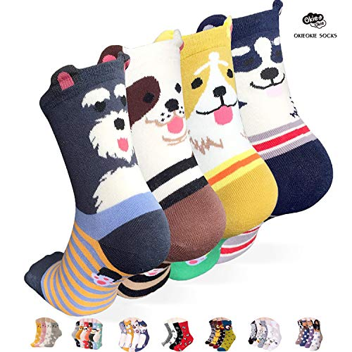 OKIE OKIE Womens Best Socks Gift Set-Cute Animals Art Cartoon Character Funny Novelty Crew (Animal - Dog Ringle 4pcs)