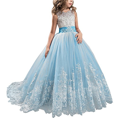 IBTOM CASTLE Little Big Girls' Flower Lace Princess Long Pageant Dresses Prom Tulle Ball Gown Wedding Bridesmaid Floor Length Dance Evening #A Light Blue 6-7 Years ()