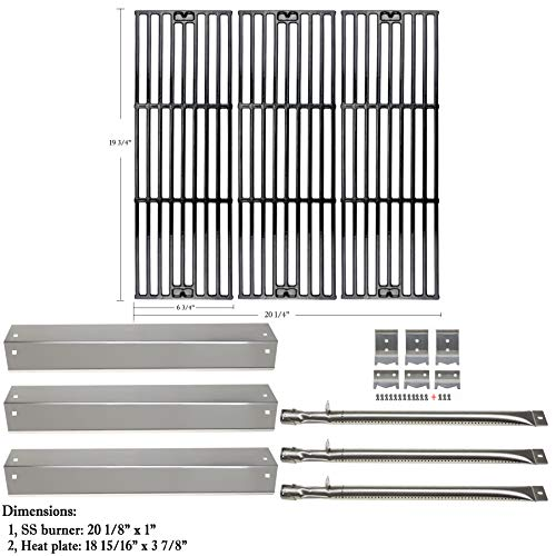 Hisencn Replacement Rebuild Kit fits Chargriller 3001, 3008, 3030, 4000, 5050, 5252 Gas Grill Stainless Steel Burner Tube, Heat Plate, Porcelain-Enameled Cast Iron Cooking Grates, igniter Electrode