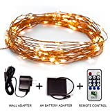 Fairy Star String Lights - 39ft Extra Long Twinkle LED Copper Wire Indoor and Outdoor Lighting Decor, Wedding, Bedroom, Party, Garden, Patio, Bistro, Backyard, Wall Adapter + Battery Adaptor + Remote
