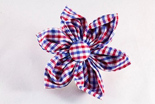 Preppy Red White and Blue Gingham Girl Dog Flower Bow Tie, Ole Miss Rebels