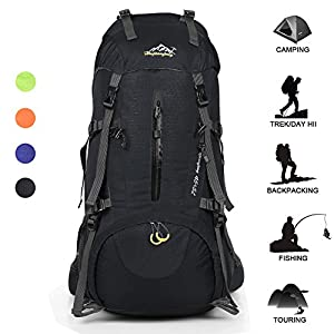 Huwaijianfeng Hiking Backpack 50L Waterproof Backpack Outdoor Sport Daypack with a Rain Cover for Climbing Mountaineering Fishing Travel Cycling