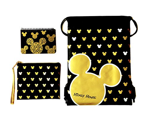 Emerald Disney Mickey Mouse Glow in the Dark Drawstring Backpack Plus Autograph Book with Purse - Set of 3 Gold (Star Head)