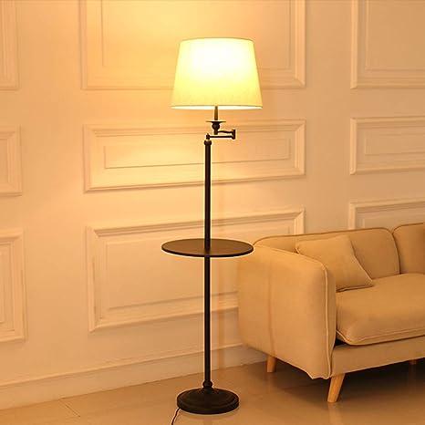 ZSAIMD Lámpara de pie, pantalla de tambor de tela, lámpara ...