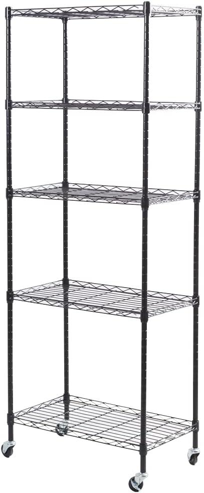2YOU 5-Shelf Storage Shelves with Wheels , Heavy Duty Metal Shelving Unit, Garage Shelving, Steel Wire Rack Organizer, Black (14