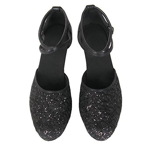 1802 6 Negro Mujer Zapatos Baile Latino Salón Hroyl 7cm De Cordón Cuero Aq8f8zv