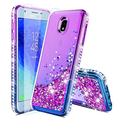 Samsung Galaxy J7 2018/J7 Refine/J7 Star/J7 Crown/J7 V 2rd Gen/J7 Top/J7 Aero/J7 Aura/J7 Eon Phone Case with Tempered Glass Screen Protector,Glitter Diamond Liquid Quicksand Floating Cover,Purple/Blue