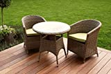 Milan 2 seater Bistro Cafe Rattan dining set with rounded tub chairs Garden Furniture