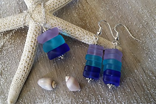 m Hawaii, purple blue cobalt sea glass necklace + earrings jewelry set, sterling silver chain, Hawaiian Gift, FREE gift wrap, FREE gift message, FREE shipping ()
