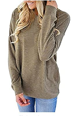 UniDear Women Casual Long Sleeve Round Neck Sweatshirt Loose Blouses Tops with Pocket