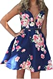 BessDress V Neck Floral Print Short Homecoming Dresses Satin Beaded Party BD305