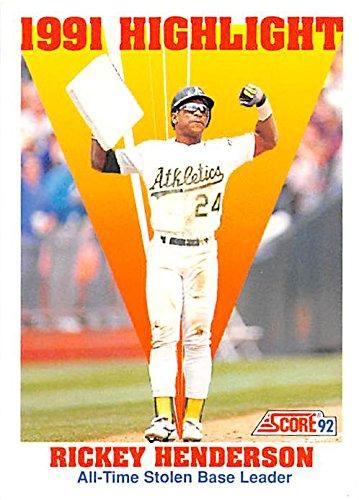 Henderson Autographs (Rickey Henderson baseball card (Oakland Athletics Hall of Fame) 1992 Score #430 Highlight Stolen Base King)