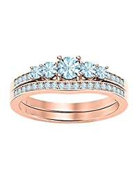 1.12Ctw 5-Stone Round Cut Gemstone 14K Rose Gold Over .925 Sterling Silver Engagemet Bridal Wedding Ring Set for Women's