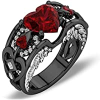 BKK Silver rings Red Ruby Black Gold Heart Angel Wings Ring Wedding Jewelry Gifts (8)
