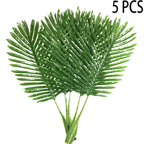 5 Pack Palm Leaves Fake Faux Artificial Plant Leaves Green Single Leaf Palm for Home Kitchen Party Supplies Tropical Leaves Decorations - Warmter (26 - Plant Green Leaves